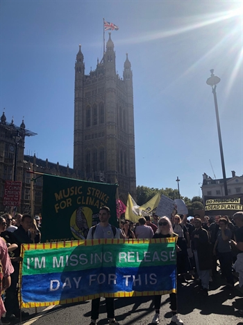 Climate change protestors at Big Ben